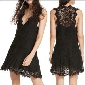 Free People Heart in Two Black Lace Dress XS NWT